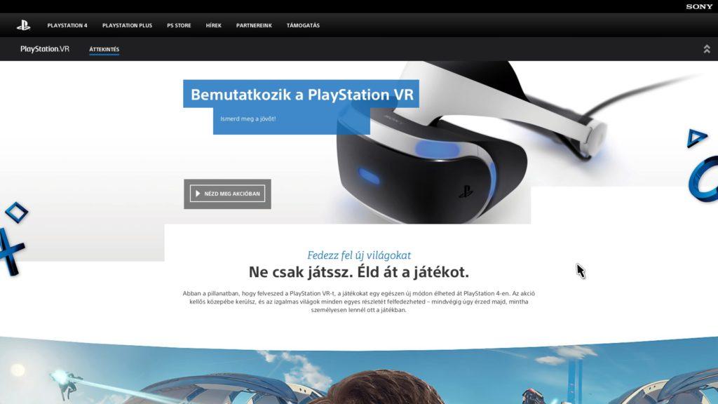 A PlayStation VR menü - PreOrder gombja